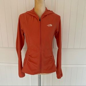 The North Face orange zipper up hoodie size small